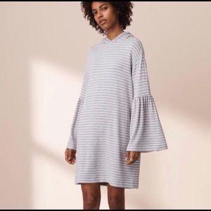 Lou & Grey Hooded Dress Bell Sleeve Dress Stripes